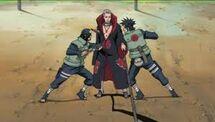 Hidan quando viene trafitto da Izumo e Kotetsu