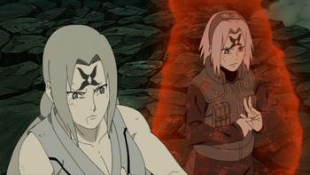 Tsunade and Sakura releasing their seals together