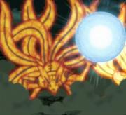 Minato en su Forma Total de Kurama creando un Rasengan
