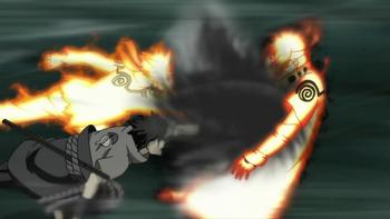 Mimo iż Minato zostaje wstępnie uderzony techniką...