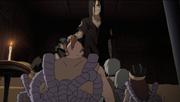 Orochimaru prometiendo una recompensa a los Cuatro del Sonido