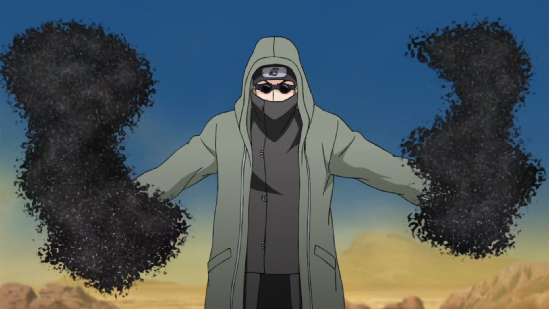 Shino using his bugs
