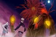 Tsukino e Naruto lutando contra Shinga