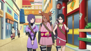 Sumire passeando com Chōchō e Sarada