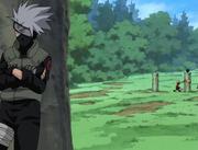 Kakashi escondido detrás de un árbol
