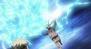 Naruto con el Rasen Shuriken se lanza contra el Kirin