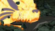 Naruto manifestando solo la cabeza de Kurama