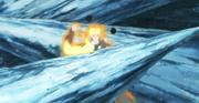 Naruto es aprisionado por los picos de hielo