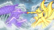 Susanoo y Kurama chocan puños Anime