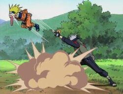 Kakashi utilizando los Mil Años de Muerte en Naruto
