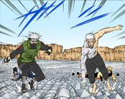 Kakashi y Obito se interponen en el ataque de Kaguya Manga