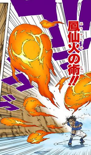 Elemento Fuego Jutsu Llamas del Sabio Fénix Manga