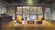 Boruto y Himawari corriendo hacia Naruto