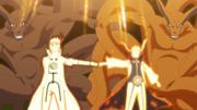 Las dos mitades de Kurama, Minato y Naruto chocan puños