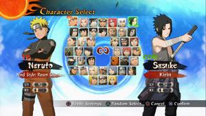 Naruto Storm 2 Seleccion de personajes