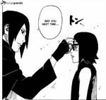 Sasuke pokes Saradas forehead