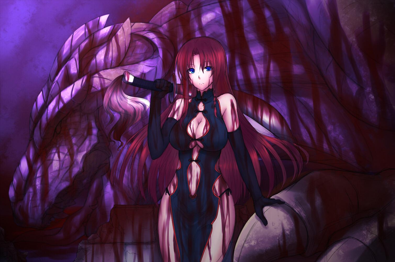 Red hair purple dress cartoon images