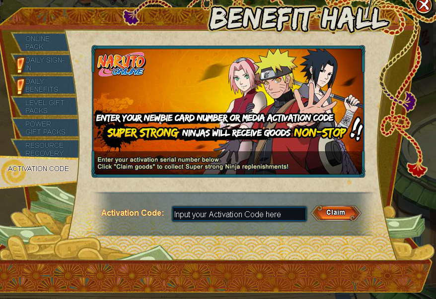 Activation Code | Naruto Online Oasis Games Wikia | FANDOM powered