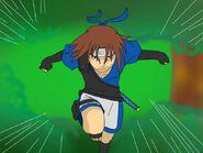 Kenshin saltando en los arboles