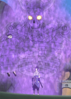 Sasuke grabs Danzo with Susanoo