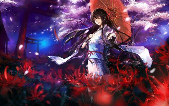 384619 devushka kimono zontik cvety derevo sakura lepestk 1680x1050 (www.GdeFon.ru)
