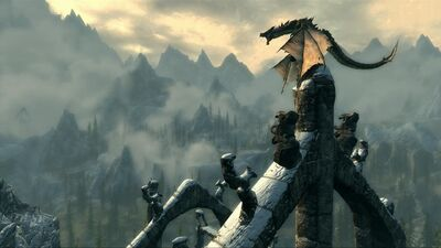 Skyrim-screenshots-dragon-mountains