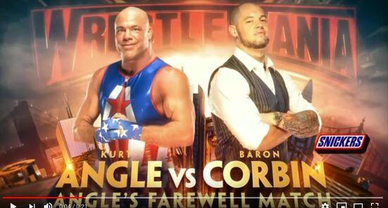 (233) Wrestlemania 35 Kurt Angle vs Baron Corbin - Official Match Card - YouTube