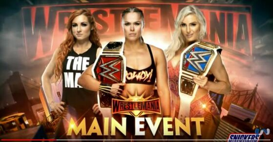 (233) Wrestlemania 35 Ronda Rousey vs Becky Lynch vs. Charlotte Flair -Official Match Card - YouTube