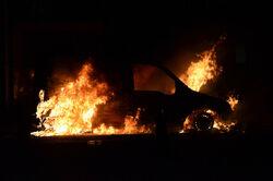 Burning car in Novosevensk