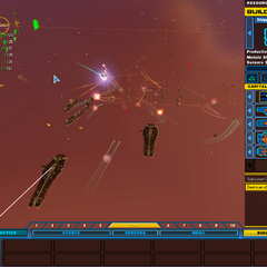 A section of the 5th Fleet fending off a pirate attack on a resource field.