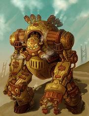 Steampunk robot warrior groxx by arm01-d8esv2n