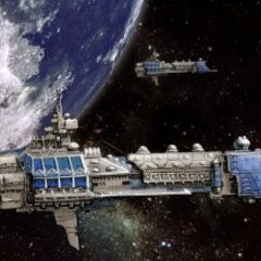 Signarian Warships drifting in orbit of Earth.