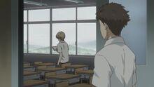 Natsume Yuujinchou Kitamoto seeing Natsume in the classroom