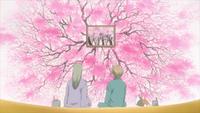 Sakura petals in the painting