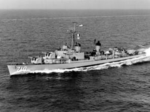 USS Gearing (DD-710) in the Mediterranean Sea in 1960