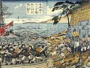 Soldiers from the Un'yō attacking the Yeongjong castle on a Korean island (woodblock print, 1876)