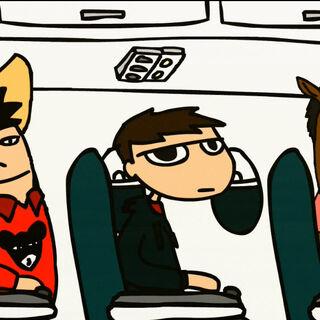 Sentado en el avión.