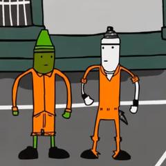 Con el uniforme de la Penitenciaria.