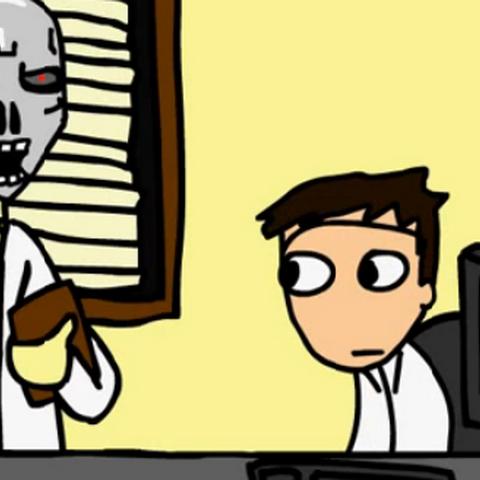 El Auditor (androide) apunto de electrocutar al Negas.