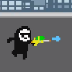 En su juego con una pistola de agua.