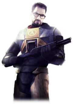 A Caucasian man in an armoured suit clutches a shotgun. The man has brown hair, a short beard, green eyes and thick black glasses, while the suit is predominately orange with black trim. The Greek letter lambda is prominent on the suit's breast.