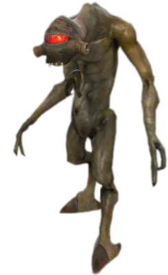 A biped alien with mottled brown skin. The creature has a hunched appearance, digitigrade legs, hooved feet and three arms. The third arm, the smallest, protrudes from the thorax. Each arm has two claws. The face is dominated by a large red eye, with three smaller eyes above it, and a small mouth with sharp teeth visible.