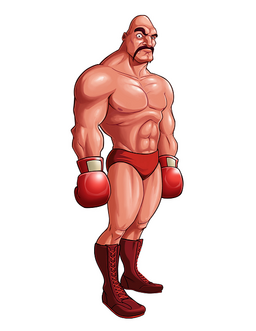 A large, muscular man cocking his eye forward. He is wearing a red speedo boots, and red boxing gloves. He is bald and had a mustache.