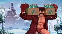 Soda Popinski is clad in remnants of a Soviet Army uniform, carrying cases of soda through a blizzard, with St. Basil's Cathedral in the background.