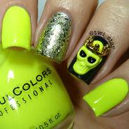 Sinful Colors Neon Melon Julep Sienna Tazeen Kate Brandt Halloween Skull Charm polish swatch 01