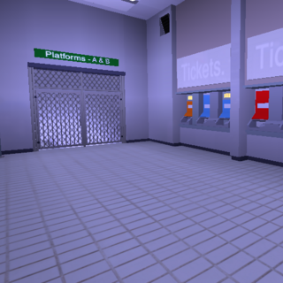 Ticket booths and blocked off staircase