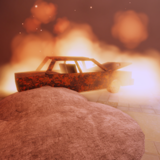 Flaming car
