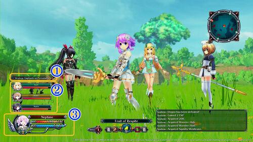Cyberdimension Neptunia Battle Menu