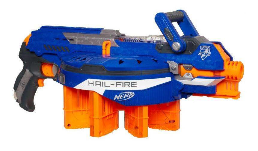 Nerf N Strike Elite HAIL FIRE Motorized Dart Gun Blaster Blue & Orange