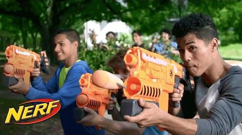 NERF Stunts - Dessert Double Demolishing w The N-Strike Elite Demolisher 2-in-1 Blaster